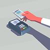 Das kontaktlose Bezahlen. Weibliche Hand hält Handy.