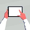 Männliche Hände halten leere Tablet horizontal.