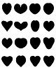 Векторный клипарт: Черные силуэты сердца