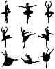 Vektor Cliparts: Silhouetten von Ballerinen