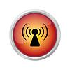 Warnzeichen - Funkwellen-Symbol auf roten Knopf