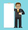Unternehmer mit einer großen leere Papier Zeichen