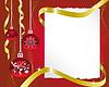 Blatt Papier und Weihnachtsschmuck