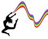 Векторный клипарт: женский силуэт в прыжке держит радугу