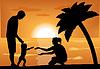 Векторный клипарт: семья с ребенком на закате