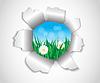 Loch im Papier, die Gras und Blumen
