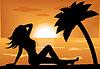 weibliche Silhouette bei Sonnenuntergang