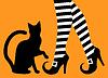 Beine Hexe und schwarze Katze