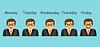 Vektor Cliparts: Emotionen und Tagen der Woche