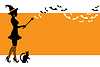 Vektor Cliparts: Hintergrund mit einer Hexe für Halloween