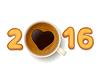 Kaffeetasse und Plätzchen für neues Jahr 2016