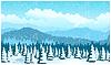 Векторный клипарт: Живописный лес зимой