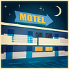 Vektor Cliparts: Motel in der Nacht altes Plakat