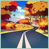 Vektor Cliparts: Straße im Herbst