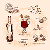 Mulled wine and its components | 向量插图