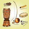 Коллекция музыкальных инструментов капоэйры | Векторный клипарт