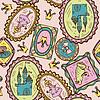 Nahtlose Muster mit Prinzessin, Frosch und Schloss