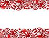 Frame aus roten und weißen Bonbons