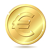 golden coin with euro sign