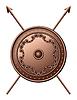 Bronze Schild und gekreuzte Speere