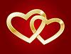 Zwei Gold-Herzen