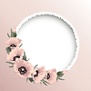 Red poppies floral round frame   Stock Vector Graphics