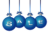 Blaue Weihnachtskugeln mit Silber Wort Verkauf