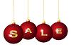 Rote Weihnachtskugeln mit goldenen Wort Sale
