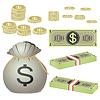 Münzen und Banknoten und Beutel mit Münzen