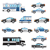 Set von Polizeifahrzeugen