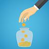 Geschäftsmann Hand werfen Glas Goldmünze