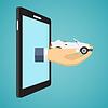 Векторный клипарт: Рука автомобиль экрана смартфона