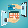Векторный клипарт: Рука с кредитной карты и рука с домом
