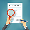 Hand checking contract with magnifying glass | Stock Vector Graphics