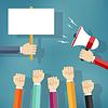 Векторный клипарт: Руки проведение протеста знак и мегафон