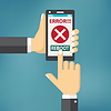 Hand hold smart phone with error on screen | 向量插图