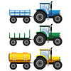 Set of farm tractors with wagons | 向量插图