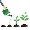 Векторный клипарт: Лейкой и растения