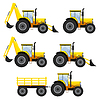 Set of vehicles and tractors | Stock Vector Graphics
