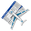 Vektor Cliparts: Flugtickets mit dem Flugzeug