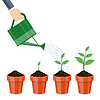 Gießkanne und Pflanzen in Töpfen