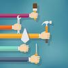 Векторный клипарт: Руки держат работу по дому и инструменты для ремонта