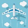 Векторный клипарт: Изображение гражданского самолета с облаками