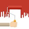 Векторный клипарт: Рука с красным роликом