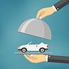 Vektor Cliparts: Hand mit silbernen Tablett mit dem Auto auf sie