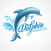 Dolphin. Swimming pool sign template.  | 向量插图