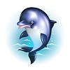 Dolphin Cartoon gegen Hintergrund der Wellen