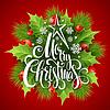 Векторный клипарт: Рождеством надписи карта с Холли