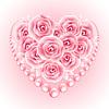 Rosa Rosen, Perlen und Herz shap Rahmen