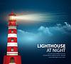 Realistische Leuchtturm in der Nacht Himmel Hintergrund